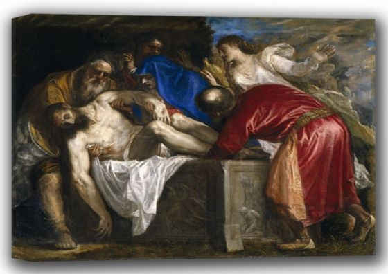 Titian (Tiziano Vecellio): The Entombment/Burial of Christ. Fine Art Canvas. Sizes: A4/A3/A2/A1 (001942)